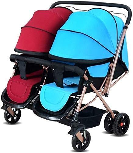 Upgrade Triciclo Triciclo para niños Cochecitos, cochecitos, cochecitos gemelos que se pueden colocar planos y transportar amortiguadores plegables bidireccionales Cochecito de bebé triciclo Silla de