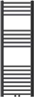 ECD Germany Radiador de toallas Sahara - 400 x 1200 mm - antracita - curvado - con conexión central - radiador toallero agua calefaccion