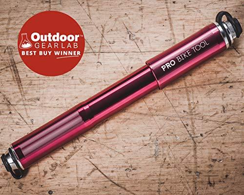 Pro Bike Tool Mini Fahrradpumpe mit Manometer für Presta & Schrader Ventile- Hoher Druck bis 6,9 Bar - zuverlässig, kompakt & leichte Rahmenpumpe mit Druckmessgerät - Pumpe für Rennrad, Mountainbike - 2