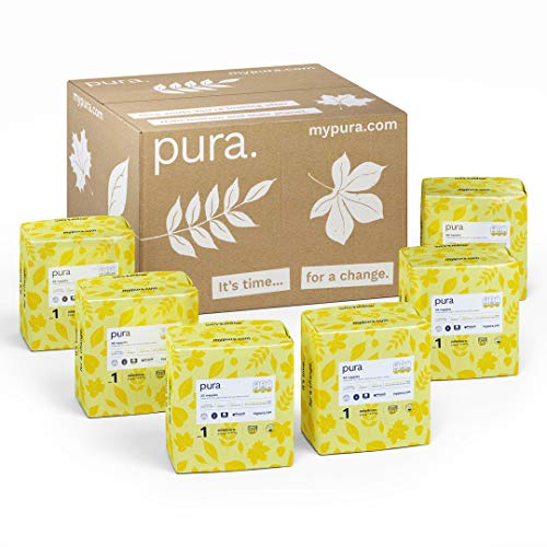 Pura Premium Eco Baby Nappies Size 1 (Newborn 2-5kg / 4-11 lbs) 6 Packs of 22 Nappies (132 Total), FSC Certified Natural Plant Fibres, Pure, Environmentally Friendly