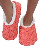 Snoozies Womens Slipper Socks | Comfy Soft Sherpa Fleece Slippers | Womens House Slippers | Rose Hearts | Medium | Apricot