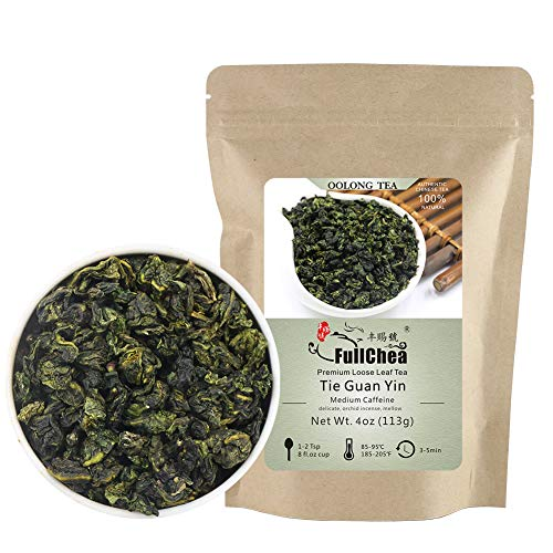 FullChea - Anxi Tieguanyin Tea - Best Oolong Tea Loose Leaf - Tie Guan Yin Tea - Iron Goddess of Mercy with Orchid Aroma - Deliciously Smooth Taste - 4oz / 113g