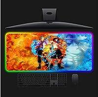 ワンピースアニメゲーミングRGBラージマウスパッドゲーマーコンピューターマウスパッドLEDバックライトキーボードデスクマット300x900x4