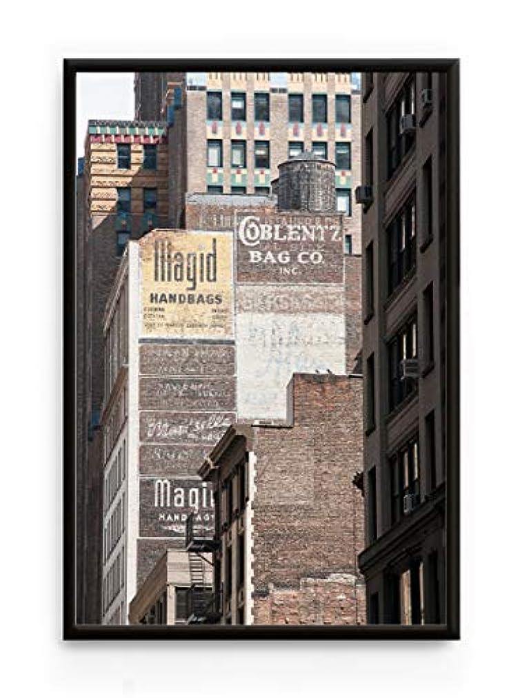 Manhattan Bricks Walls Aluminium Frame Black Satin Full Format, Multicolored, 20x30