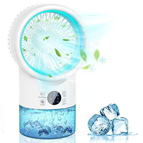 Mini Enfriador de Aire, 3 en 1 Acondicionados de Aire Móviles,Air Cooler Portatil Ventilador Humidificador, Climatizador Portatil Silencioso,3 Velocidades y 7 Colore LED, para Oficina Hogar