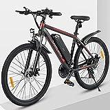 ZWJABYY Bicicleta EléCtrica De 26 Pulgadas,Bicicleta EléCtrica Ligera con Motor De 350W,Asistencia De Pedal EléCtrico con BateríA De 36V/10Ah,Bicicleta EléCtrica para Adolescentes Y Adultos,Black