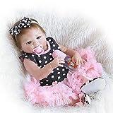 Renacimiento Muñeca Simulación Bebé con ojos grandes Silicona Recién Nacido Cabello corto Cabello Corta Decoración Regalo de Cumpleaños Cosplay de Navidad con chupete, Botella de alimentación,57CM