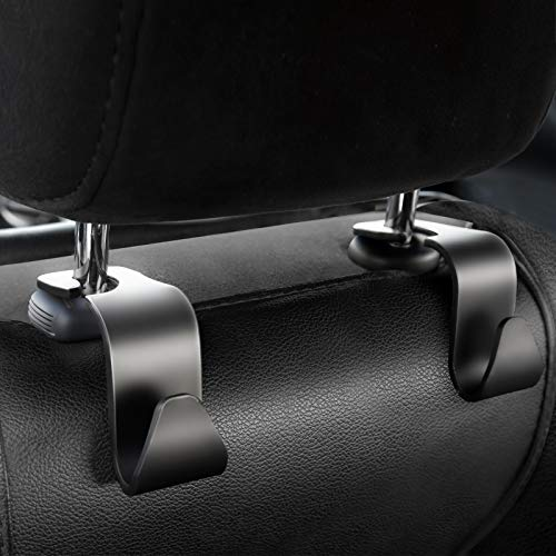FJCTER Car Vehicle Headrest Hooks with 44 LB Load Capacity Durable Back Seat Hangers with Easy Install Design Portable Organizer Holder for Handbag Purse Cloth Grocery (4 Pack)