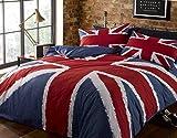 Rock'N Roll - Set copripiumone, Divertente Motivo con Bandiera del Regno Unito (Union Jack) Blu-Rosso-Bianco, per Letto Matrimoniale
