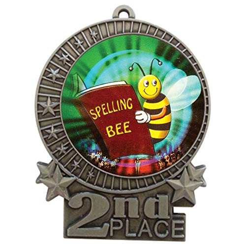 Express Medals 3 inch Spelling Bee 2nd Place Silver Medal with Neck Ribbon Award XMDMY4 (5)