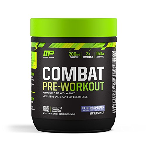 Muscle Pharm - Combat Pre-Workout Powder 30 Servings Blue Raspberry - 9.84 oz