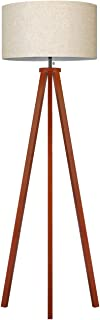 Tomons Wood Tripod Floor Lamp, Traditional Retro Style, Standing Light with Pull Chain Switch for Living Reading Room Bedroom Offices, 8W Bulb Included