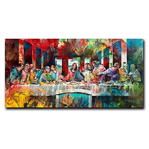 XIXISA La última Cena de Leonardo da Vinci Pinturas en Lienzo en los Carteles e Impresiones artísticos de la Pared imágenes artísticas de Cristo Famoso decoración de la Pared 50x100cm sin Marco