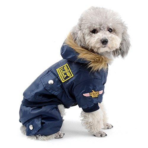 SELMAI Waterproof Fleece Lined Dog Winter Coat Snow Suit Airman Hooded...