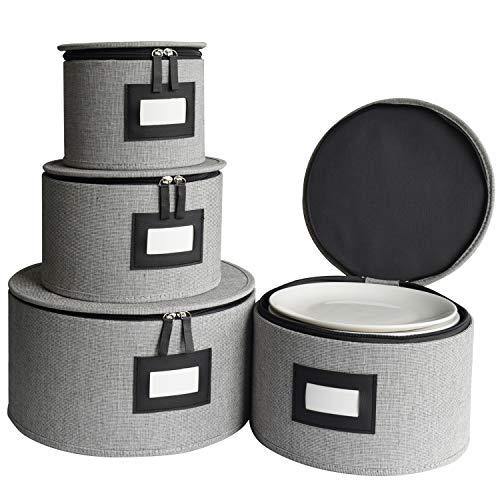 China Storage Containers Hard Shell and StackableDinnerware Sets Dividers Box Protects Dishes Plates Felt Plate Dividers Included Set of 4 Grey