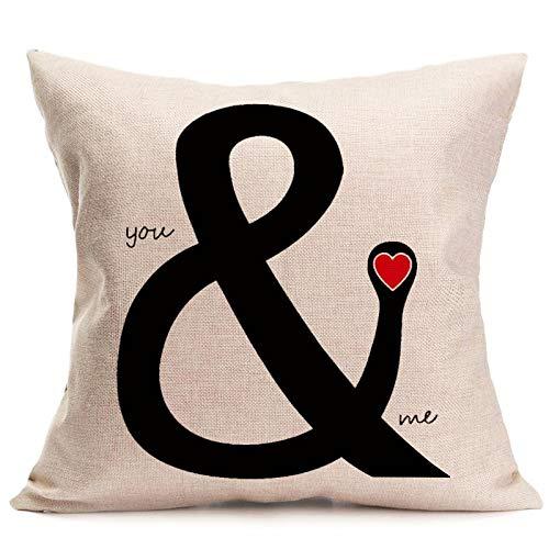 Yilooom Funda de almohada de 60,96 x 60,96 cm, diseño con texto en inglés 'Love Mr Mrs' (algodón y lino), color blanco
