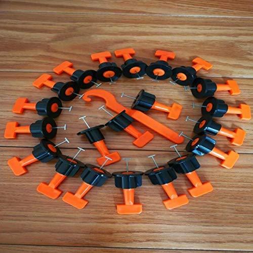 FireAngels 50 PC Pisos Pared Azulejos Nivelación Sistema de Nivelación Clip Plástico Ajustable Localizador Espaciadores Alicates Nivel Cuñas Herramientas Mano
