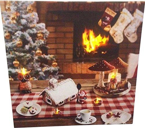 Joka International GmbH LED Canvas foto open haard verlicht decoratie kerstmis afbeelding 34x28x34 cm