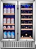 Aobosi 24 Inch Beverage and Wine Cooler Dual Zone, 2-IN-1 Wine Beverage Refrigerator with...