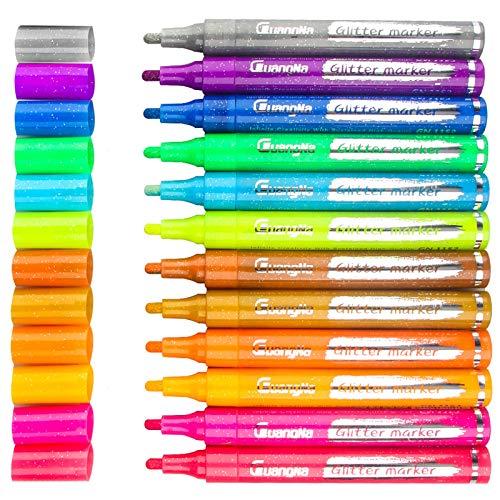 [12 Color] Glitter Markers, Tomorotec Art Glitter Paint Markers Set Water-Based Shimmer Marker