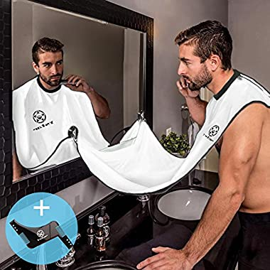 Beard Bib Apron & Beard Template Tool (Combo) Facial Hair Trimming & Clippings Catcher | Shaving Accessory Guide for Side Burns,Curve Cut By Ystar(White)