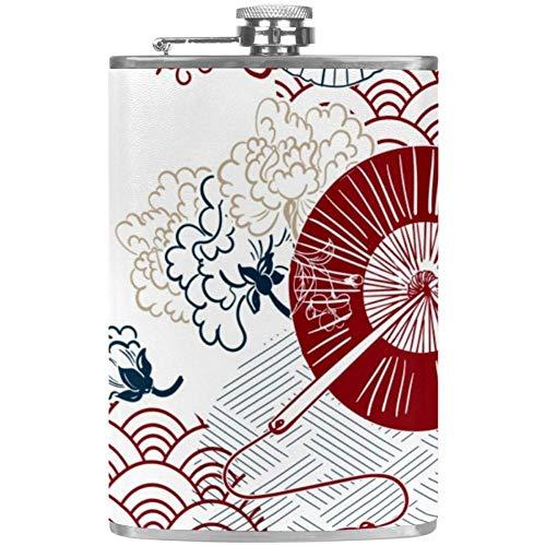 TIZORAX Cherry Bloemen Patroon RVS Hip Flasks Pocket Wijn Flagon Mok met Lederen Cover voor Mannen Vrouwen 227ml 9.2x15cm/3.6x6in Patroon 2