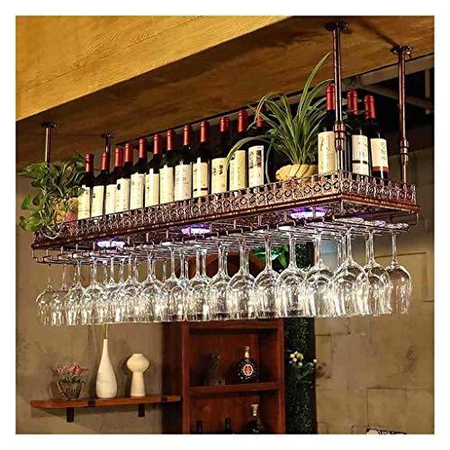 GLYYR Weinregal Auf dem Kopf nach unten Weinträger, einfacher Stil Eisen hängende Weinglasgestell, Deckendekoration, geeignet für Bars, Restaurants, Küchen (Farbe: Bronze, Größe: 150 * 35cm)