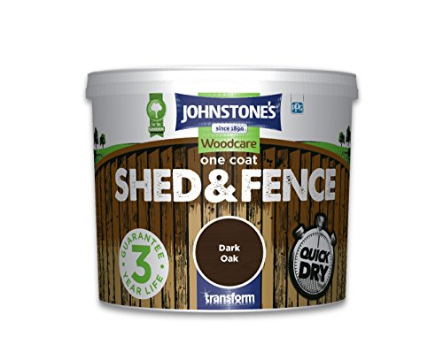 Johnstone's 386166 Woodcare One Coat Shed and Fence, Dark Oak, 5 Litre