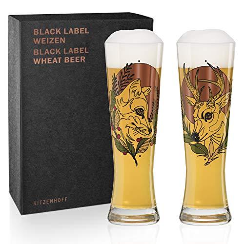 Ritzenhoff Black Label Weizenbierglas-Set von Tobias Tietchen (Stag & Fox), aus Kristallglas, 669 ml, mit 3 Klebetattoos