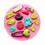 KIRALOVE Molde de Silicona - botón - niña - pies de bebé - niña - Broche -...