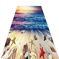 ZEMIN 廊下のカーペット ランナー ラグ 3D 海 印刷 滑り止め 掃除が簡単 長いです ホール キッチン 入り口 ランナー じゅうたん 夕焼け (Color : A, Size : 0.6x7m)