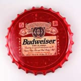 2but Budweiser Bottle Caps Metal Tin Signs Cafe Beer Bar Decoration Plat 13.8' Inches Wall Art Plaque Vintage Home Decor