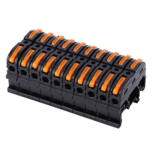 10Pcs Rail Type Wire Connector PCT-211 Electrical CableTerminal Press Fast Wiring Terminal Block for 0.2-4mm² Wire(PCT-211 Black)