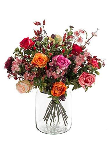 artplants.de Kunst Blumenstrauß Feme, orange - rosa, 45cm, Ø 40cm - Künstlicher Blumenstrauß - Kunststoff Strauß
