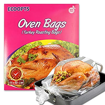 ECOOPTS Turkey Oven Bags Large Size Oven Cooking Roasting Bags for Chicken Meat Ham Seafood Vegetable - 10 Bags (21.6 x 23.6 IN)