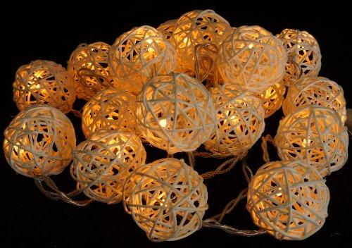 Guru-Shop Rattan Ball LED Kugel Lampion Lichterkette - Natur, Lichterketten