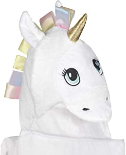Bambi Bamboo Baby Towel with Hood, Unicorn Hooded Towel for Newborns Infants Toddlers, Large 40x30 in, White, Soft, Baby Gift for Girls Age 0-6T