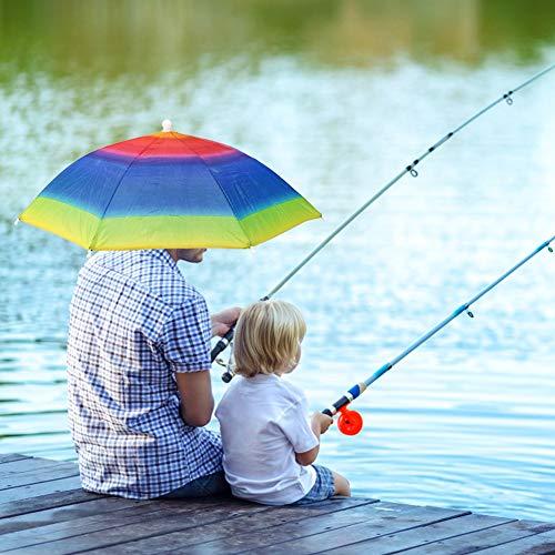 Gorra de paraguas de cabeza multicolor a prueba de agua Sombrero de paraguas Manos libres plegable en la playa para pescar al aire(Rainbow umbrella hat)