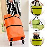 Collapsible Trolley Bags Folding Shopping Cart Reusable Grocery Bag Foldable Portable Shopping Bags with...