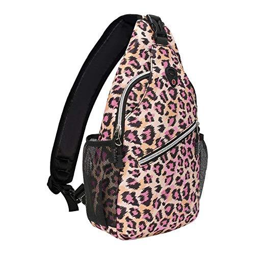 MOSISO Sling Backpack,Travel Hiking Daypack Leopard Print Rope Crossbody Bag, Pink