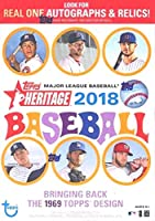 2018 Topps Heritage MLB Baseball EXCLUSIVE Factory Sealed Retail Box with 8 Packs & 72 Cards! Look for Real One Autographs, Inserts, Parallels, Relics & More! Look for SHOHEI OTHANI Rookie's & Auto's!