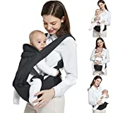 Baby Carrier, 6-in-1 Baby Hip Seat Carrier with Waist Stool, Ergonomic Hipseat Carrier, for 3-48 Month Baby Carrier Hip Backpack for Walking Hiking Shopping Travelling (Black)