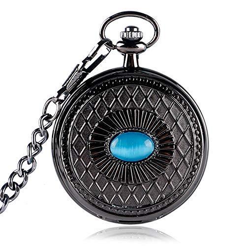 J-Love Reloj de Bolsillo mecánico con Pantalla de Ojo Azul Misterioso Steampunk Cadena Colgante Negra Reloj de Bolsillo Antiguo Fresco Regalos Hombres Mujeres