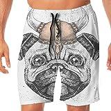 Pantalones Cortos de Playa Hipster Animal Pug Perro con Casco Vikingo Velocidad de Secado rápido Pantalones Cortos de Verano para Hombres, niños