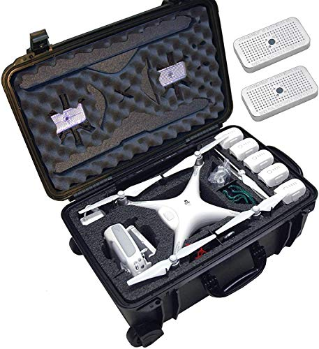 Case Club Pre-Cut Waterproof Drone Case with Wheels, Extension Handle & 2 Moisture Absorbing Silica Gel - Fits DJI Phantom 4 (Propellers On)