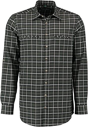 TOM COLLINS Herren Hemd Langarm Jagdhemd mit Liegekragen Midio, Größe:35/36, Farbe:dunkelgrün