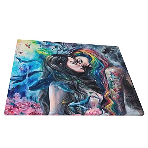 Cyloten Goth Gothic Girl Lace Love LGBT Lesbian Painting Canvas Wall Artwork Printed Wall Decor Compact Wall Pictures Panels Scratch-Resist Hanging Paintings for Bathroom Office Coffee Shops 16x20 in