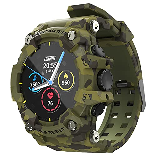 LOKMAT-Reloj Deportivo Inteligente Attack con Bluetooth Monitor de Ritmo cardíaco Resistente al Agua para Android e iOS (Green)