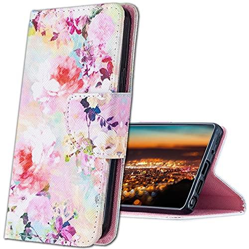 MRSTER Xiaomi Mi A2 Hülle Leder, Langlebig Leichtes Klassisches Design Flip Wallet Hülle PU-Leder Schutzhülle Brieftasche Handyhülle für Xiaomi Mi A2 / Xiaomi Mi 6X. HX Ink Flowers