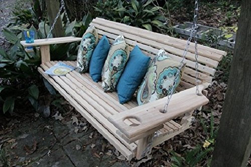 5 Foot Handmade Cypress Porch Swing with Cupholders …